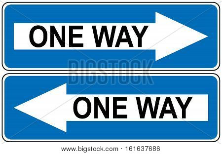 One way road traffic sign, Drive Straight Arrow Traffic Vector illustrations. Set of arrow road signs
