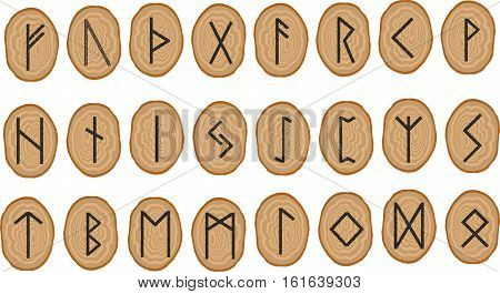 Vector set of runes on wooden plates. Rune alphabet - futhark. Writing ancient Germans and Scandinavians. The mystical symbols. For design projects esoteric and occult themes.