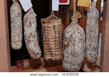 Assortment of Cured Meats and Salami in Butcher Shop