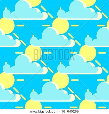 Vector clouds and the sun good weather seamless pattern. Background sunny weather illustration