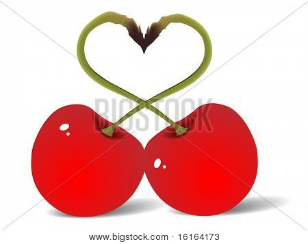 Two red cherry love raster image of vector