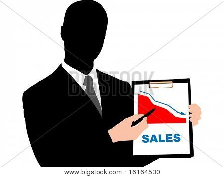 Business man holding clipboard raster image of vector