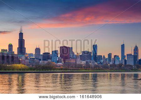 Chicago Skyline. Cityscape image of Chicago skyline during sunset.