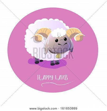 cute lamb on isolated background. vector illustration