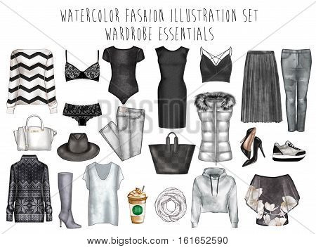 Watercolor digital illustration - watercolor fashion clip art set - Wardrobe essentials - Woman Apparel - Flat fashion sketch