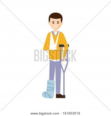 Physically Handicapped Person Living Full Happy Life With Disability Illustration With Smiling Guy With Broken Leg And Arm. Disabled Cartoon Character With Physical Impairment Vector Drawing.