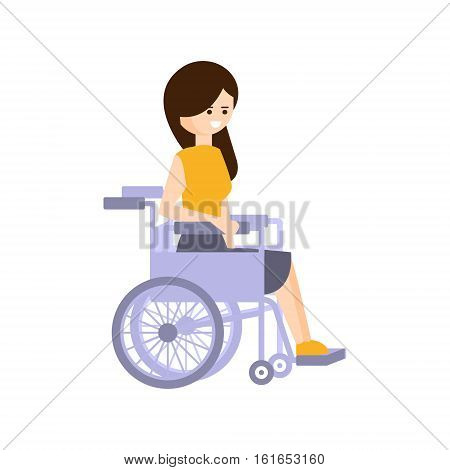 Physically Handicapped Person Living Full Happy Life With Disability Illustration With Smiling Woman In Wheelchair. Disabled Cartoon Character With Physical Impairment Vector Drawing.