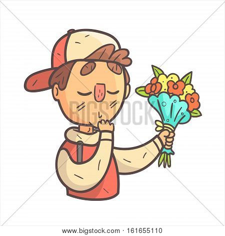 Feeling Shy Giving Flowers Boy In Cap And College Jacket Hand Drawn Emoji Cool Outlined Portrait. Part Of Funky Flat Vector Sticker Series With Teenager Different Emotional Facial Expressions In Comics Style.