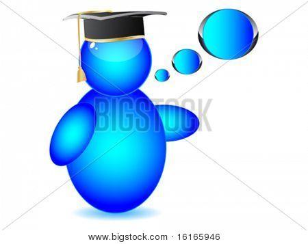Graduation cap on Buddy icon vector illustration