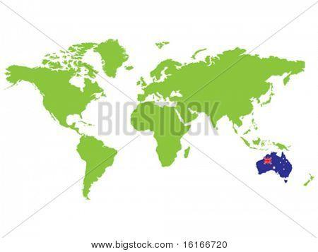 AUSTRALIA position in the world vector illustration