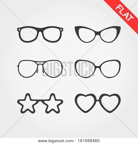Spectacle frames. Silhouettes. Icons set for web and mobile application. Vector illustration on a white background. Flat design style.