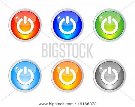 (raster image of vector) power buttons different colors vector illustration