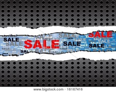 ripped paper with sale text