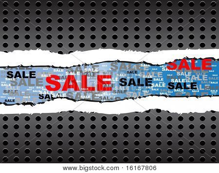 (raster image of vector) ripped paper with sale text