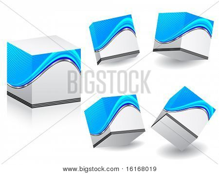 (raster image of vector) white boxes with template on it in different position