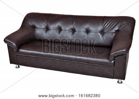 Dark brown leatherette sofa isolated on white background include clipping path.