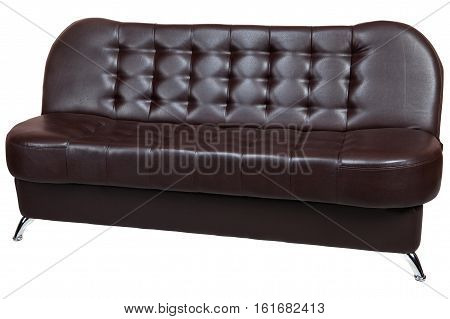 Dark brown leatherette sofa bed isolated on white background include clipping path.