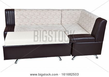Leatherette Modern Sectional Convertible Sofa Bed dining room furniture white with brown color isolated on white background include clipping path.