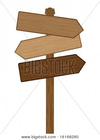 (raster image of vector) Wooden direction sign