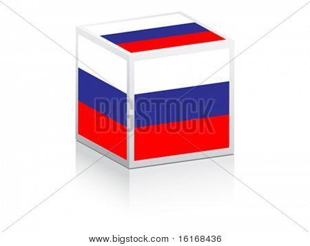 bandeira russa sobre ilustração vetorial de caixa