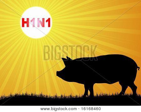 (raster image of vector) Swine flu virus