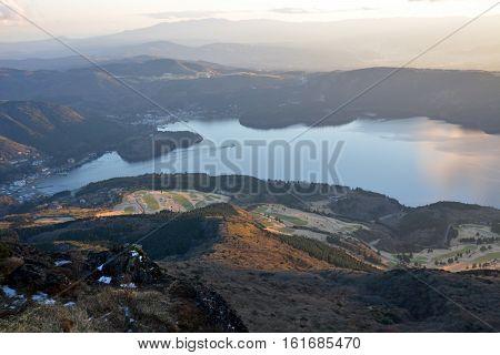 Atmosphere around Lake Ashi, Japan. View from Hakone mountain.