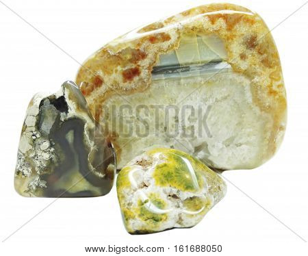 agate with chalcedony geological crystal isolated mineral