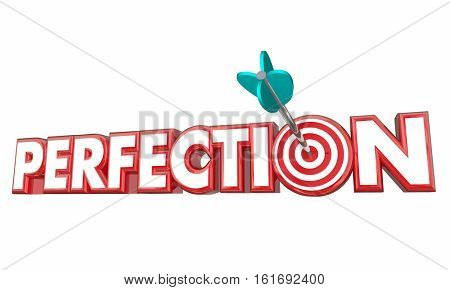 Perfection Total Full Accuracy Correct Complete Arrow Target 3d Illustration
