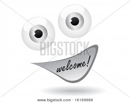 (raster image of vector) welcome icon