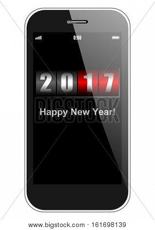 Happy new year 2017 vector greeting card with smartphone and counter on white background.