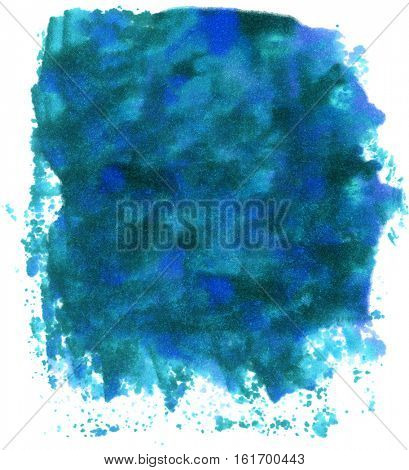 Variety of blue colored inks blended into a large ink blot on white paper background