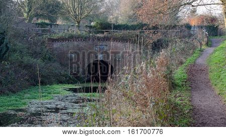 The Greywell tunnel eastern portal marking the western boundary of the Basingstoke canal. The tunnel is of interest for its bat populations: it has more roosting bats than any other site in Britain