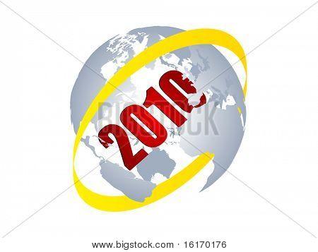 (raster image of vector) 2010 year inside of world globe