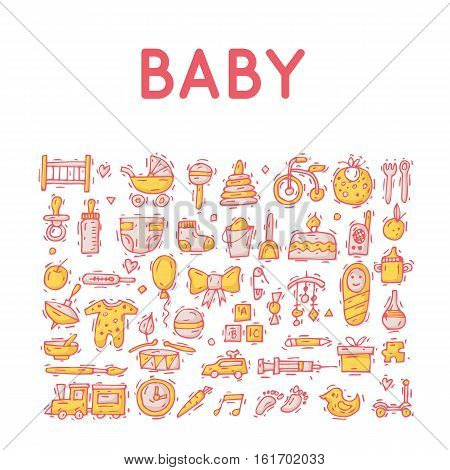 Baby icons. Set of icons. Hand drawn vintage style. Flat design vector illustration.
