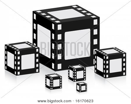 (raster image of vector) boxes with filmstrip pattern