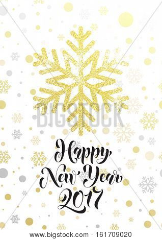 Happy New Year 2017 gold glitter snowflake greeting card text lettering. Golden glittering Christmas balls pattern on white background. Hand drawn calligraphy for winter holiday luxury premium design