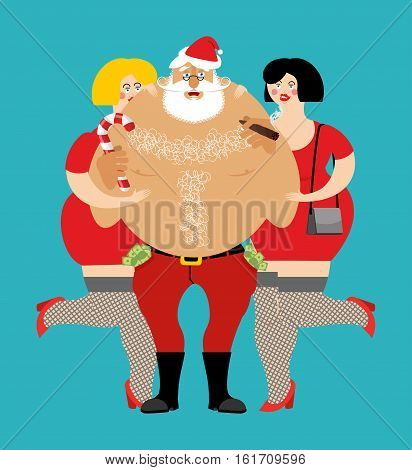 Bad Santa With Beer And Cigar. Santa Claus And Prostitutes. Drunk Grandfather And Sexy Girl. Money I