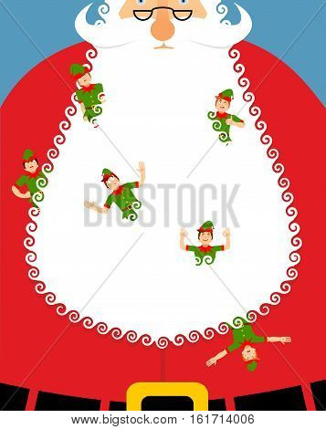Elves In Santa Beard. Large White Beard And An Elf. Little Cheerful Claus Assistant. Christmas And N