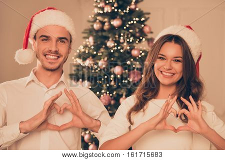 Yong Happy Family Gesturing Heart With Fingers Near Christmas Tree