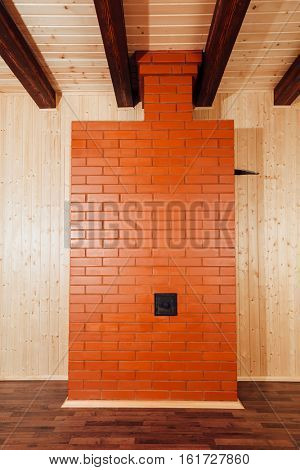 brick stove in wooden house