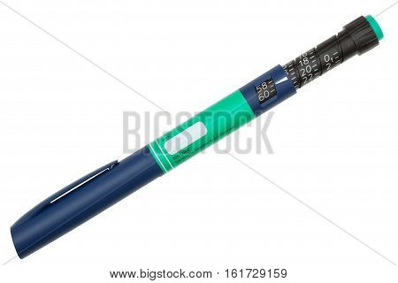 Insulin Injection Pen Extended isolated on white with clipping path