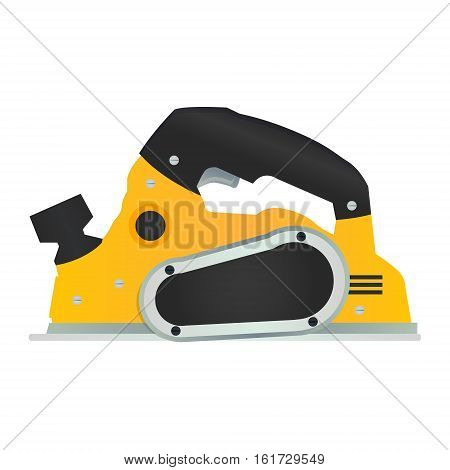 Electric hand plane vector icon. Power wood planer symbol. Woodworking machinery tool or instrument sign. Carpentry handheld equipment.