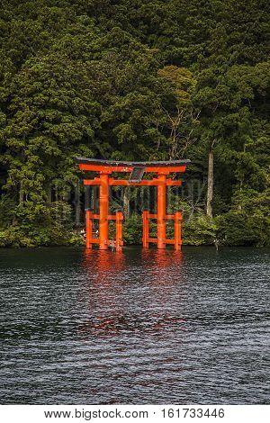 Torii gate at the lake Ashi, Hakone, Japan
