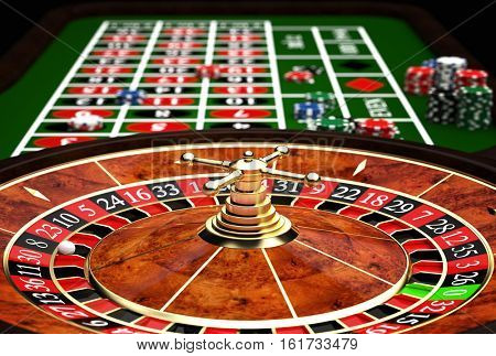 classic casino roulette and green table 3d rendering