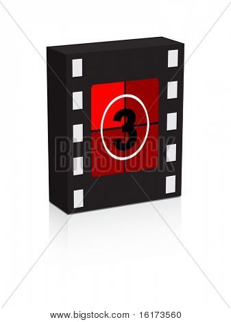 (raster image of vector) number three film strip on box