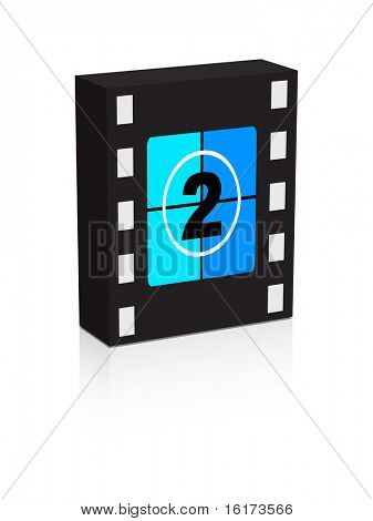 (raster image of vector) number two film strip on box