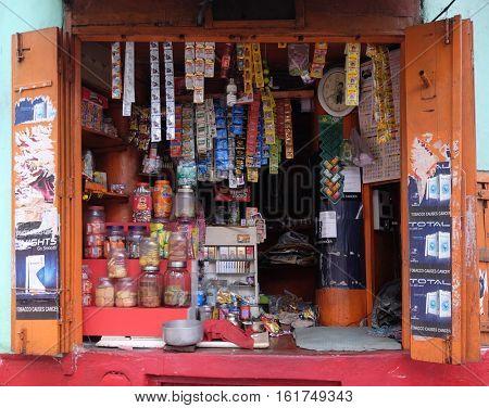 KOLKATA, INDIA - FEBRUARY 09: Small street shop which sell many product for daily life in Kolkata on February 09, 2016.