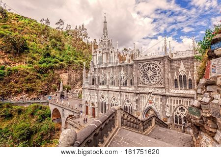 Las Lajas Colombian Catholic Church Built Between 1916 And 1948 Is A Popular Destination For Religious Believers From All Part Of Latin America