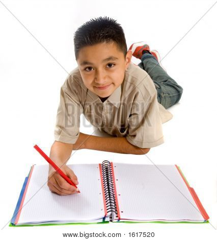 School Student Doing His Homework