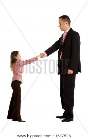 Business Couple Doing A Handshake